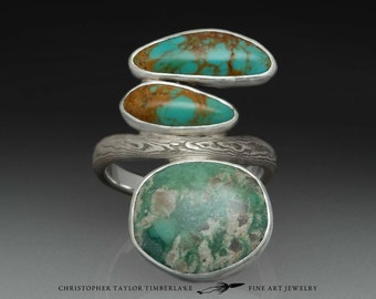 River Erosion Ring with Mokumé Gane, Variscite and Turquoise