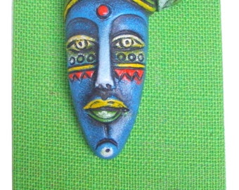 50% OFF-Home Decor Wall Hanging Keys Peg Indian Handicraft Paper Mache Face on Matty from Pondicherry in South India