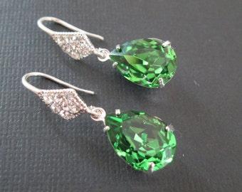 Fern Green Swarovski Earrings/Bridesmaid Jewelry/Bridesmaid Earrings/ Green Crystal Earrings/ Swarovski Crystal Earrings/Green Bridesmaid