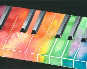 Rainbow Piano Painting - musical instrument art - Print to fit 11 x 14 frame