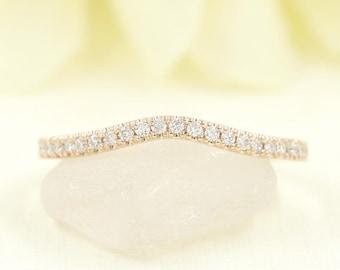 Diamond Wedding Band.Curved Wedding Band.Rose Gold Diamond Band.14K White Gold,Yellow Gold,Rose Gold Wedding Ring.Matching Band.Diamond Band