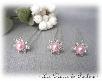 Set of three wedding pins hair rhinestone Pink Rhinestone hair pins