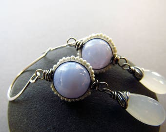 Gemstone Earrings, Gift for Women, Moonstone Earrings, Pearls Earrings, Blue Lace Agate, Wire Wrapped Jewelry, Delicate Earrings, Silver