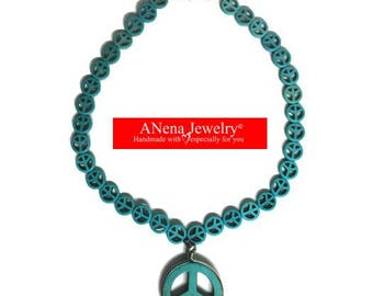 Profoundly Peaceful Necklace, turquoise and silver plated  steel