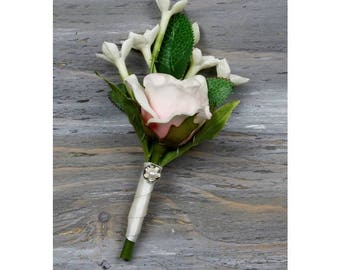 Pink Rose Boutonniere Real Touch Rose BoutonniereGroom Boutonniere Groomsman Boutonniere Pink Boutonniere Wedding Boutonniere Lapel Pin