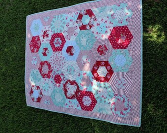 Quilt  /  Quilts  /  Custom Quilt / Quilts for Sale  /  Lap Quilt /  Quilts for Girls  /  Red Aqua Quilt  /  MADE TO ORDER