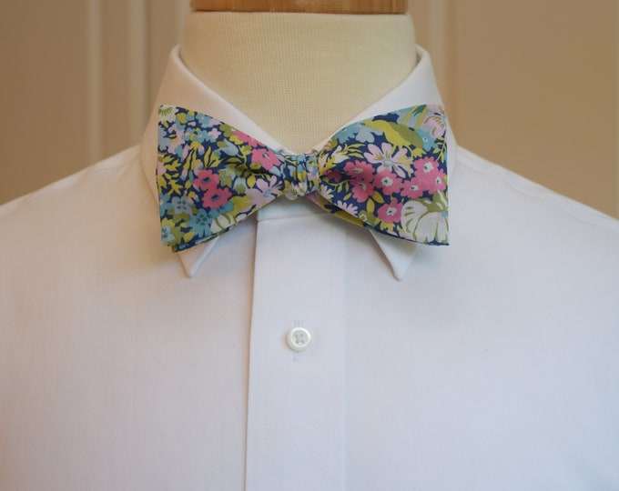 Men's Bow Tie, Liberty of London pink/sage/blue floral Thorpe print bow tie, groom/groomsmen/wedding bow tie, prom bow tie, tux accessory