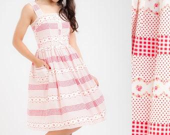 Pink Gingham Dress Summer Dress Picnic Dress Sun Dress Birthday Dress Rockabilly Dress Pinup Dress Retro Dress Plus Size Dress Party Dress