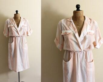 vintage dress 70s peach striped pastel 1970s neutral linen womens clothing size m l medium large