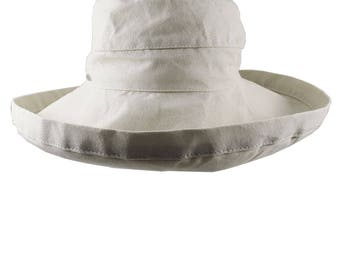 Deluxe Wide Brim Style Women's Fashion Sun Hat Adjustable Unstructured in Stone Beige