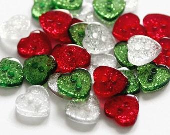 30 Glitter Heart Buttons - 12mm x 13mm - Sparkle Buttons - Resin Buttons - Heart Shaped Buttons - Sparkly Hearts - Christmas Buttons - RM76