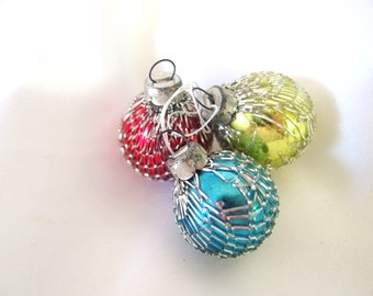 3 Vintage Japan Christmas Mesh Covered Ornaments - Blue, Gold and Red Glass Balls