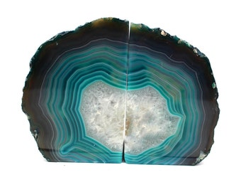 Agate Book Ends Teal Agate Bookend Pair - 1 to 3 lb - Geode Bookend - Home Decor - Crystal and Stones BKE