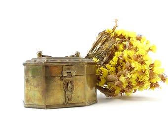 Brass Cricket Box - Brass Trinket Box - Brass Lidded Box - Footed Keepsake Box - Hinged Brass Box - Octagonal Trinket Box - Brass Chest