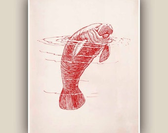Nautical art Print,  Sea creature Wall Decor, garnet  manatee10x8 print,  Home and living decoration