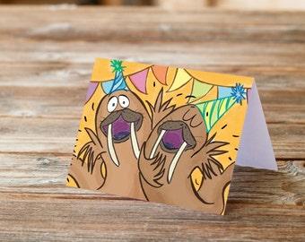 Happy Birthday Walrus fun happy kids birthday greeting card party hats pennants