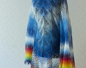 Hand Knit wool shawl in blue - white and rainbow on the ends.