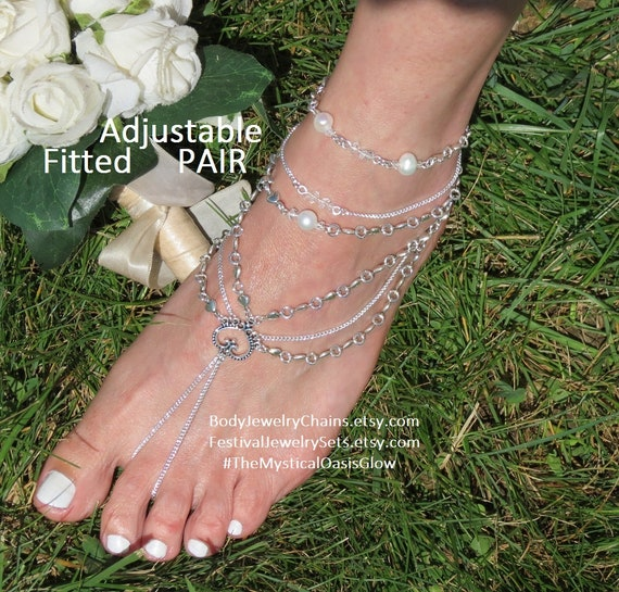 sandles foot nude Sandals sandals shoes yet wedding bright Diamond Barefoot heavy beach footless cozy beach for Silver jewelry pgRR714qw
