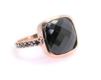 Black Onyx & Diamond ring .