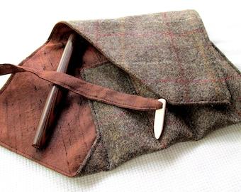 Wool Tweed and Silk Four-Pen Wrap, Pen Roll, Pen Case