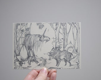 Unicorn Drawing, Fantasy Postcard, Fantasy Scene, Fantasy Art, Fantasy Illustration, Detailed Fantasy Drawing, Fantasy Animal, Original Art