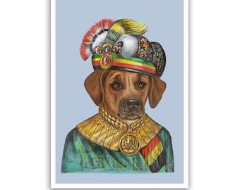 Rhodesian Ridgeback Art Print - King of Africa - Dog Art, Prints, Wall Decoration - African Wall Art - Pet Portraits by Maria Pishvanova