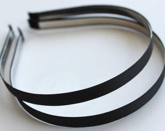 5pcs..10mm Black Grosgrain Ribbon Covered Metal(Steel) Headbands
