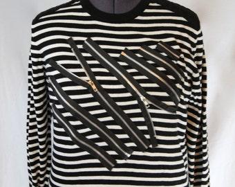 Striped Zipper Sweater-Large