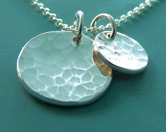 Hammered Disc Necklace with Two Charms in Sterling Silver, Small, Free Shipping, Last Minute Gift, Gardening Gift