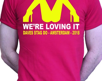 Stag Do T shirt McDonalds Drinking Beer
