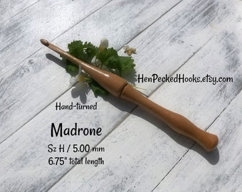 Hand-turned Madrone  Ergonomic  Crochet Hook  Sz H / 5.00 mm