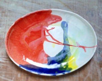 Dripped glaze porcelain dish