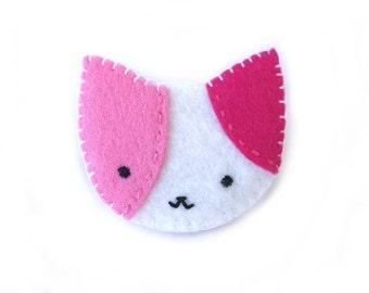 Pink cat brooch, calico cat jewelry, animal pin, kawaii jewelry