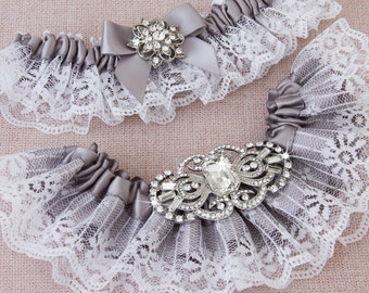 Bridal garter set, Gray Wedding Garter set, Gray Lace Garter, Lace Wedding Garter, Gray Garter Set