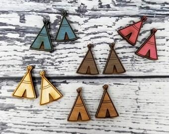 Engraved Wood Finding Teepee Boho Indian Cabochons Stud Earring Embellishments | Laser Cut