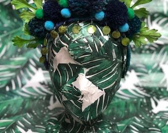 Green and navy leaf pom pom headpiece