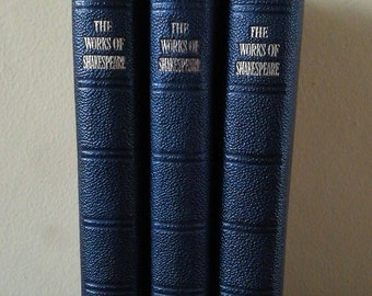 Three Antique Leather Bound Books - The Works Of William Shakespeare 1910 And 1911 - Volumes One, Five And Six Oxford University Press.