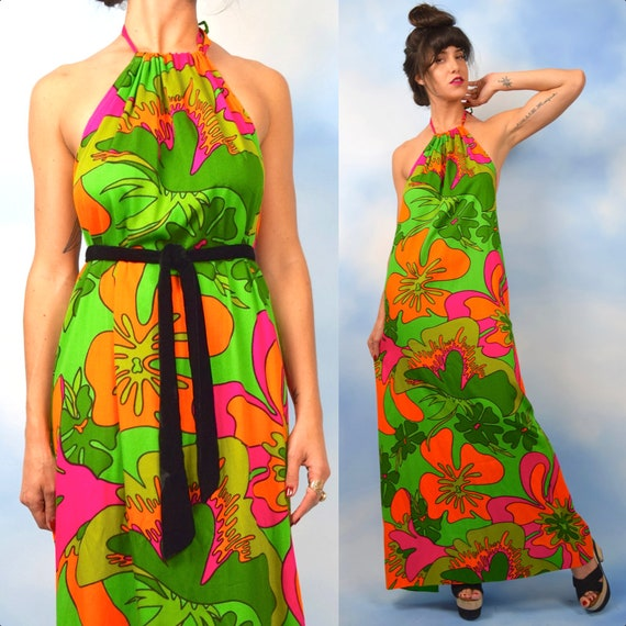 Vintage 60s 70s Psychedelic Floral Print Halter Back Maxi Dress (size small, medium)