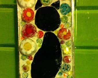 Right facing Black cat mosaic pendant  with millifiori background