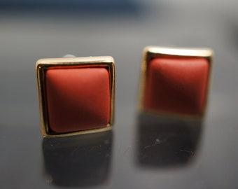 Sweet and Simple 18K Gold Tangerine Orange Square Pillow Earrings 8mm