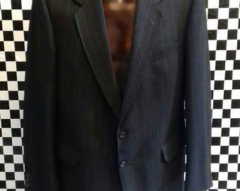 Men's grey and blue pinstripe jacket by Daks - medium