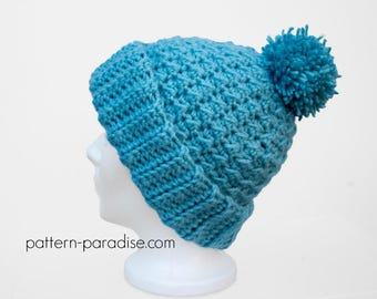 Crochet Pattern for Beanie Hat, Dreamy, Toddler, Child, Adult PDF 17-330