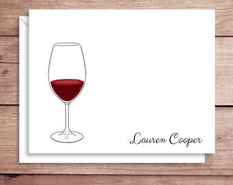 Wine Glass Note Cards - Folded Note Cards - Personalized  Stationery - Wine Glass Thank You Notes - Illustrated Note Cards