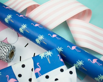 Flamingo Gift Wrap, 3-Sheet Roll