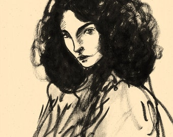 Unique drawing: Female portrait, 3/4 profile, half-length (after Klimt), Japan Ink black/ grey on brown paper, 24 x 34 cm, signed 9)