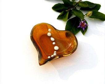 Fused glass heart dish, amber, transparent amber, vanilla dots