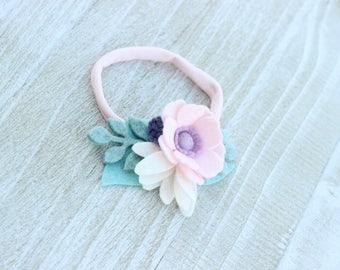 Felt Flower Headband, Baby Pink Lilac Petit / Pale Pink Lilac Flower Headband / Lilac Crown / Pink Lilac Headband / Pink Head Band