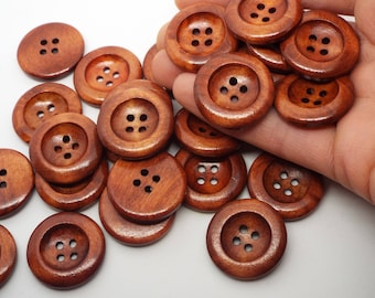 BULK 50x Large Dark Wooden Concave Round 4 hole Buttons 25mm