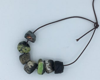 set of 7 ceramic raku beads