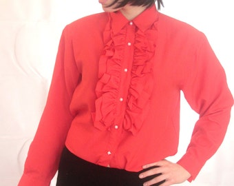 Flamoyant Red Volant Blouse